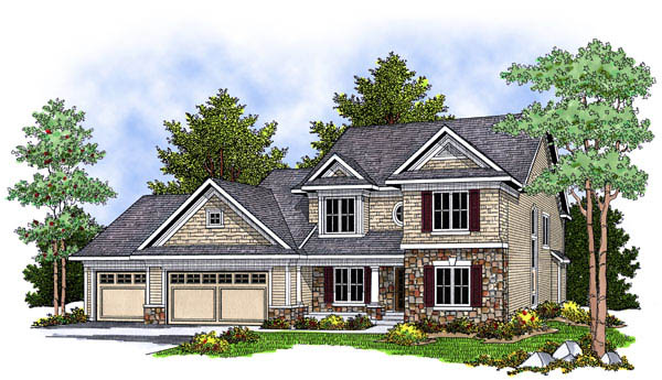 Traditional House Plan 73229 with 4 Beds , 3 Baths , 3 Car Garage Elevation