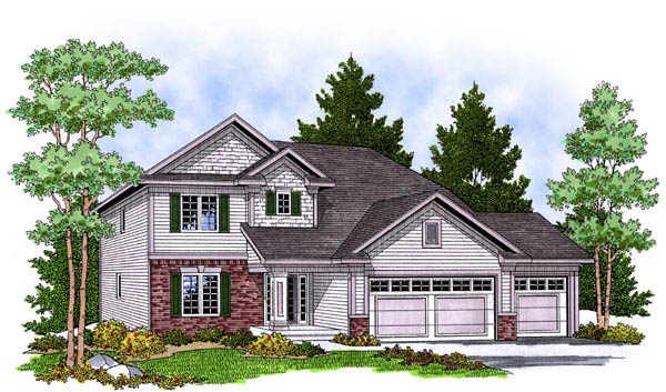 Traditional House Plan 73230 with 4 Beds, 3 Baths, 3 Car Garage Elevation