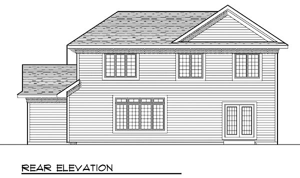 Traditional House Plan 73230 with 4 Beds, 3 Baths, 3 Car Garage Rear Elevation