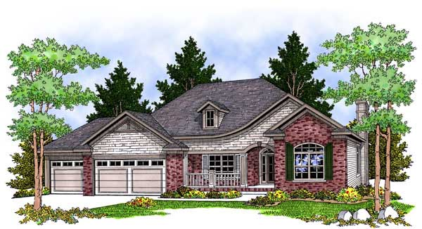 European, One-Story, Traditional House Plan 73232 with 2 Beds, 2 Baths, 3 Car Garage Front Elevation