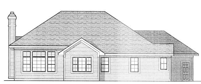 European, One-Story, Traditional House Plan 73232 with 2 Beds, 2 Baths, 3 Car Garage Rear Elevation