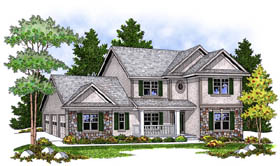 Traditional , Country House Plan 73235 with 4 Beds, 3 Baths, 3 Car Garage Elevation
