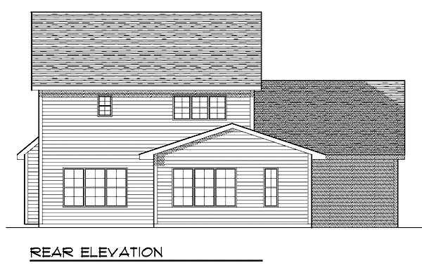 Traditional , Country House Plan 73235 with 4 Beds, 3 Baths, 3 Car Garage Rear Elevation