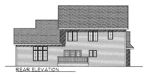 Traditional House Plan 73240 with 4 Beds, 3 Baths, 3 Car Garage Rear Elevation