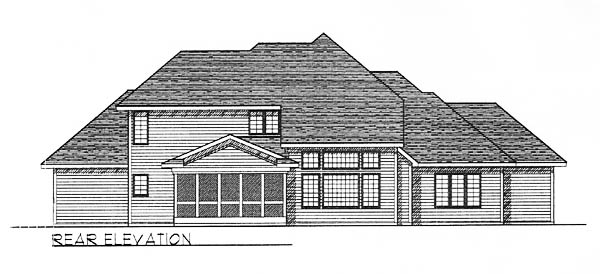 European , Traditional , Tudor House Plan 73245 with 4 Beds, 4 Baths, 3 Car Garage Rear Elevation