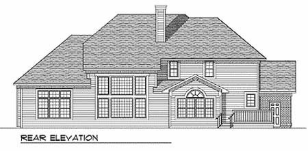 House Plan 73249 | Traditional Style House Plan with 3532 Sq Ft, 4 Bed, 4 Bath, 3 Car Garage Rear Elevation