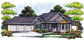 House Plan 73254 | European Style Plan with 3174 Sq Ft, 3 Bedrooms, 2 Bathrooms, 3 Car Garage Elevation