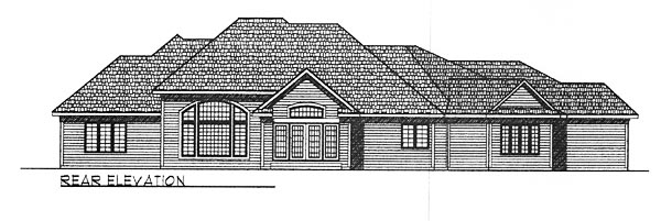 House Plan 73254 | European Style Plan with 3174 Sq Ft, 3 Bedrooms, 2 Bathrooms, 3 Car Garage Rear Elevation