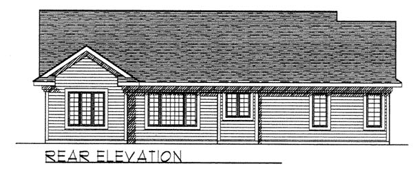 Craftsman Ranch Traditional House Plan 73257 Rear Elevation
