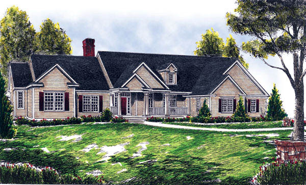 Country , Ranch , Traditional House Plan 73258 with 4 Beds, 3 Baths, 3 Car Garage Elevation