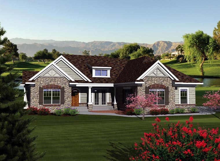 Ranch Elevation of Plan 73260