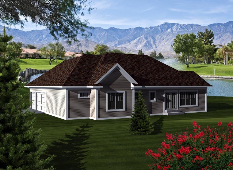 Ranch Rear Elevation of Plan 73260