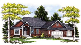 House Plan 73265 | Colonial, Traditional Style House Plan with 2266 Sq Ft, 3 Bed, 2 Bath, 3 Car Garage Elevation