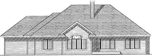 Colonial Traditional Rear Elevation of Plan 73265