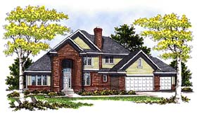 House Plan 73267 | Traditional Tudor Style Plan with 2512 Sq Ft, 3 Bedrooms, 3 Bathrooms, 3 Car Garage Elevation