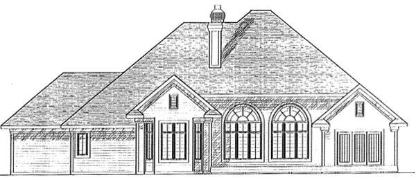 Traditional Tudor Rear Elevation of Plan 73267