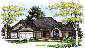 Traditional House Plan 73269 with 3 Beds, 3 Baths, 3 Car Garage Elevation