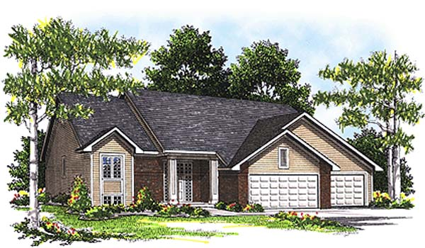 One-Story, Traditional House Plan 73270 with 3 Beds, 2 Baths, 3 Car Garage Elevation