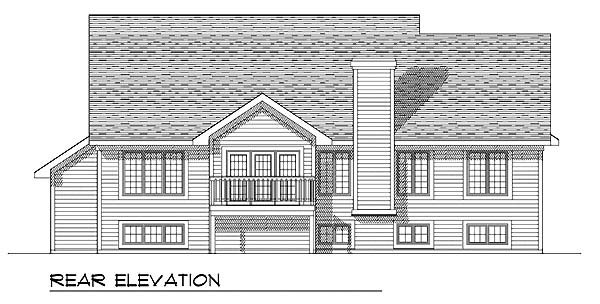 One-Story, Traditional House Plan 73270 with 3 Beds, 2 Baths, 3 Car Garage Rear Elevation