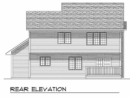 House Plan 73277 | Country Farmhouse Style Plan with 1942 Sq Ft, 3 Bedrooms, 3 Bathrooms, 2 Car Garage Rear Elevation
