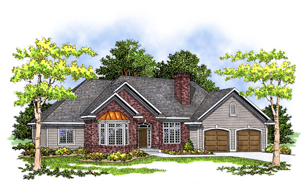 Traditional , Craftsman House Plan 73280 with 3 Beds, 3 Baths, 3 Car Garage Elevation