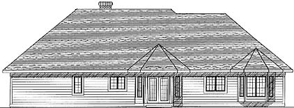 Traditional , Craftsman House Plan 73280 with 3 Beds, 3 Baths, 3 Car Garage Rear Elevation