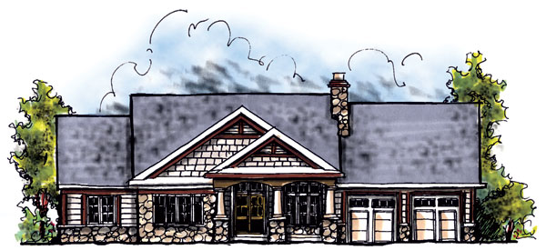 House Plan 73281 | Bungalow Craftsman Style Plan with 1895 Sq Ft, 3 Bedrooms, 3 Bathrooms, 3 Car Garage Elevation