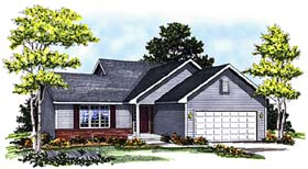 House Plan 73288 | Ranch Style Plan with 1370 Sq Ft, 3 Bedrooms, 2 Bathrooms, 2 Car Garage Elevation