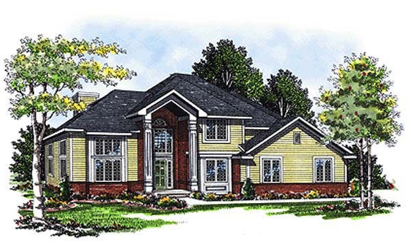 House Plan 73289 | Colonial Traditional Style Plan with 2138 Sq Ft, 3 Bed, 3 Bath, 2 Car Garage Elevation