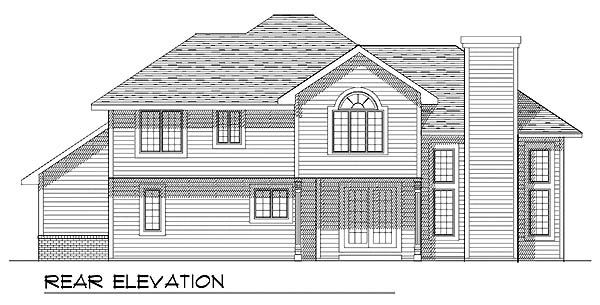 House Plan 73289 | Colonial Traditional Style Plan with 2138 Sq Ft, 3 Bed, 3 Bath, 2 Car Garage Rear Elevation