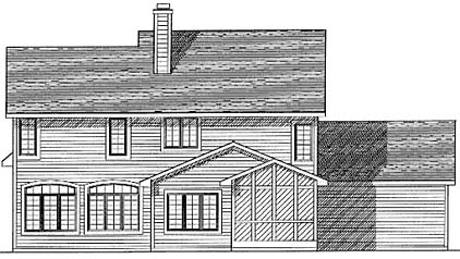 Country Rear Elevation of Plan 73290