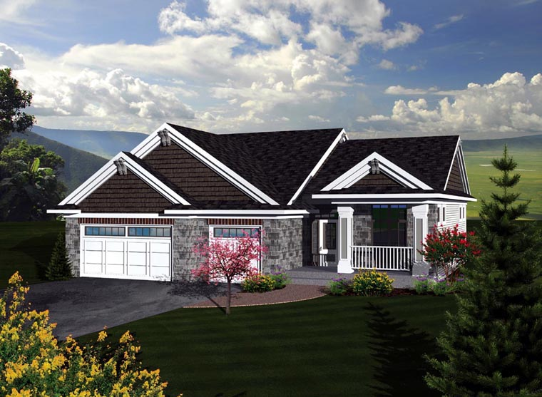 Craftsman, Traditional House Plan 73293 with 3 Beds, 2 Baths, 3 Car Garage Front Elevation