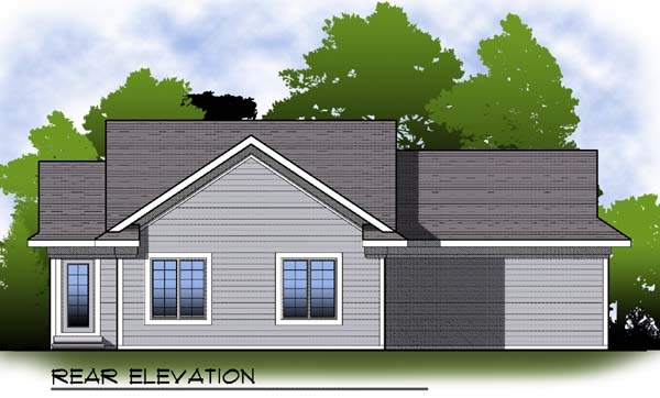 Traditional , Rear Elevation of Plan 73294