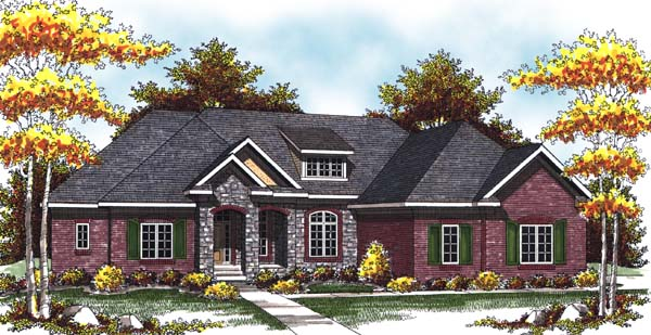 One-Story Traditional Elevation of Plan 73299