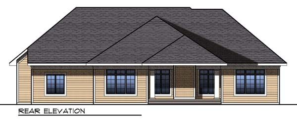 One-Story Traditional Rear Elevation of Plan 73299