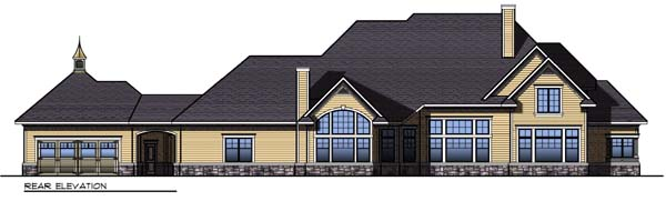 Colonial Craftsman Traditional House Plan 73304 Rear Elevation