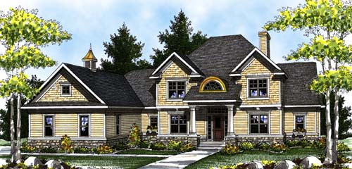 Colonial Country Craftsman House Plan 73305 Elevation