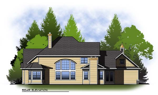 Colonial Country Craftsman House Plan 73305 Rear Elevation