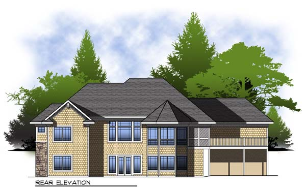 Colonial Craftsman Traditional House Plan 73306 Rear Elevation