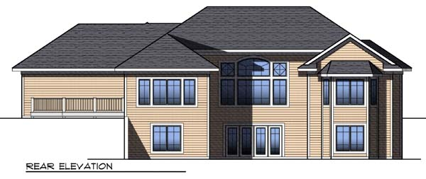Contemporary Craftsman Ranch Traditional House Plan 73307 Rear Elevation