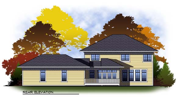 Colonial Traditional House Plan 73309 Rear Elevation