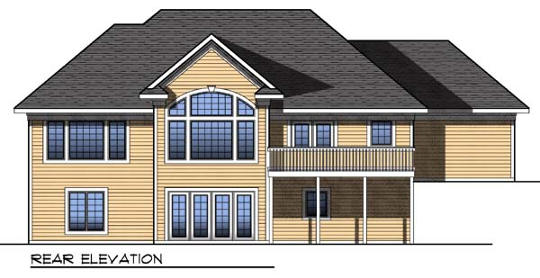 Traditional House Plan 73310 with 3 Beds, 4 Baths, 3 Car Garage Rear Elevation