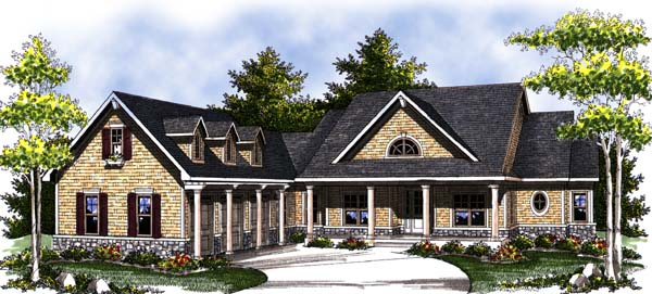 Country Craftsman Ranch House Plan 73312 Elevation