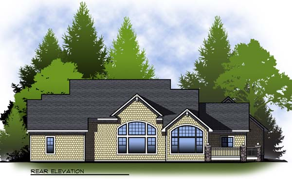 Country , Craftsman , Ranch , Rear Elevation of Plan 73312