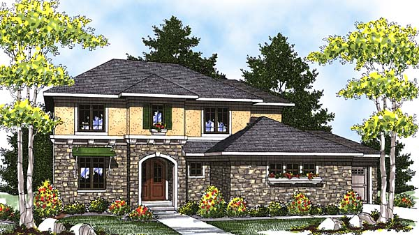 Craftsman Mediterranean One-Story Elevation of Plan 73313