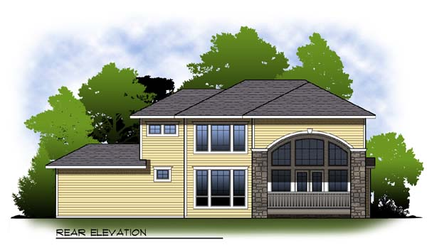 Craftsman Mediterranean One-Story Rear Elevation of Plan 73313