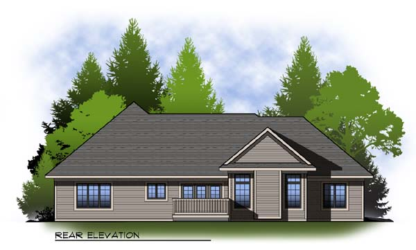 Country Craftsman Ranch House Plan 73316 Rear Elevation
