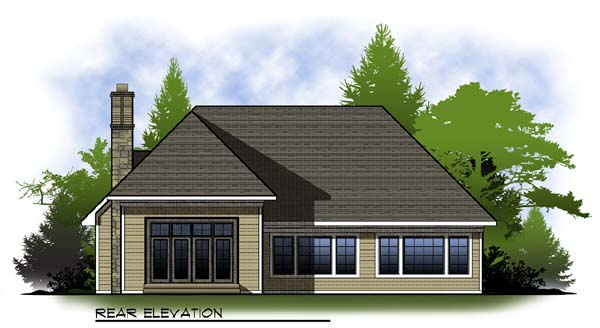 Country Craftsman Ranch House Plan 73317 Rear Elevation