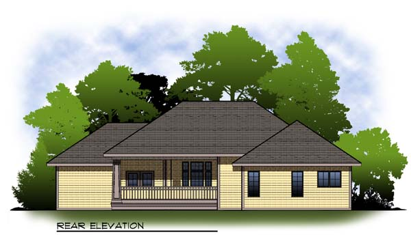 House Plan 73319 | Traditional Style House Plan with 1814 Sq Ft, 2 Bed, 2 Bath, 3 Car Garage Rear Elevation
