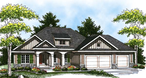 Colonial Craftsman Traditional Elevation of Plan 73322